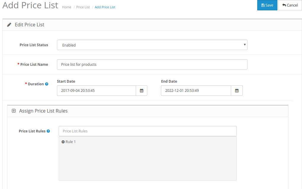 front end with price list enabled