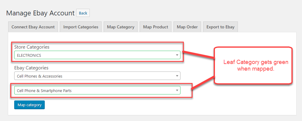 Woocommerce ebay connector wordpress multichannel integration only one category can be mapped at a time you cannot map the parent categories you need to select the sub category for mapping gumiabroncs Images