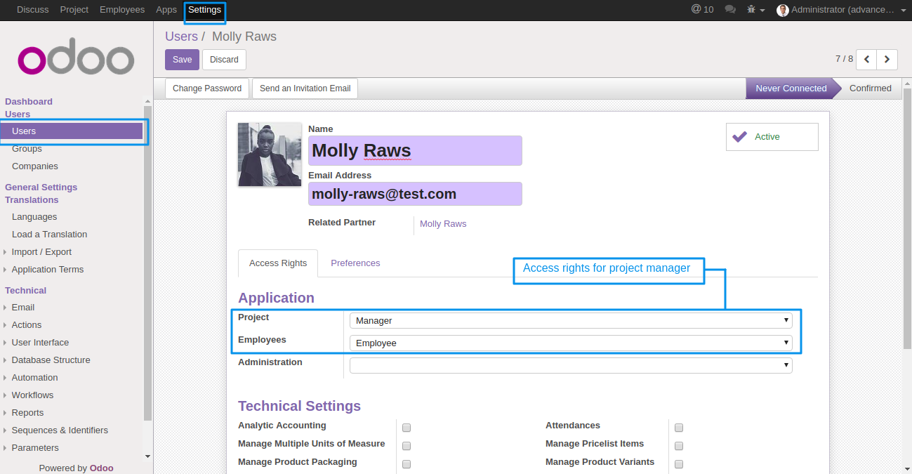 Odoo project advance team management admin can create a user and can provide himher the access of manager in the application projects thecheapjerseys Image collections