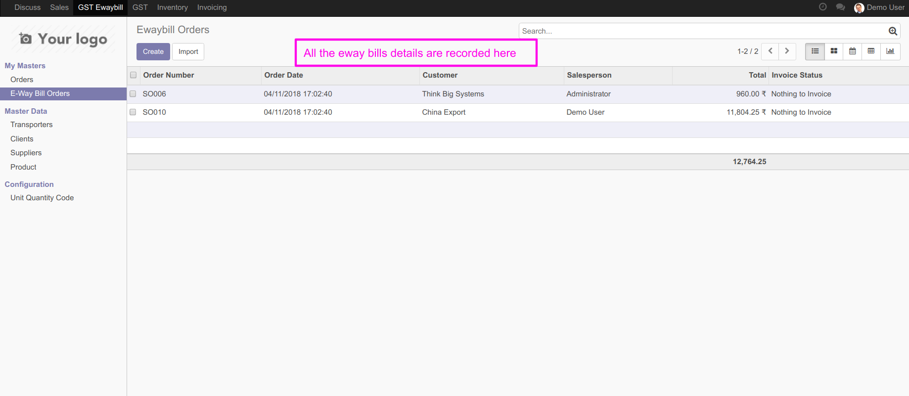 enable generate e way bill option infront of you an e way bill details tab will appear mention all the relevant details like source supply type