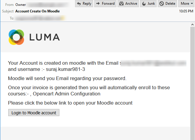 Account creation customer email