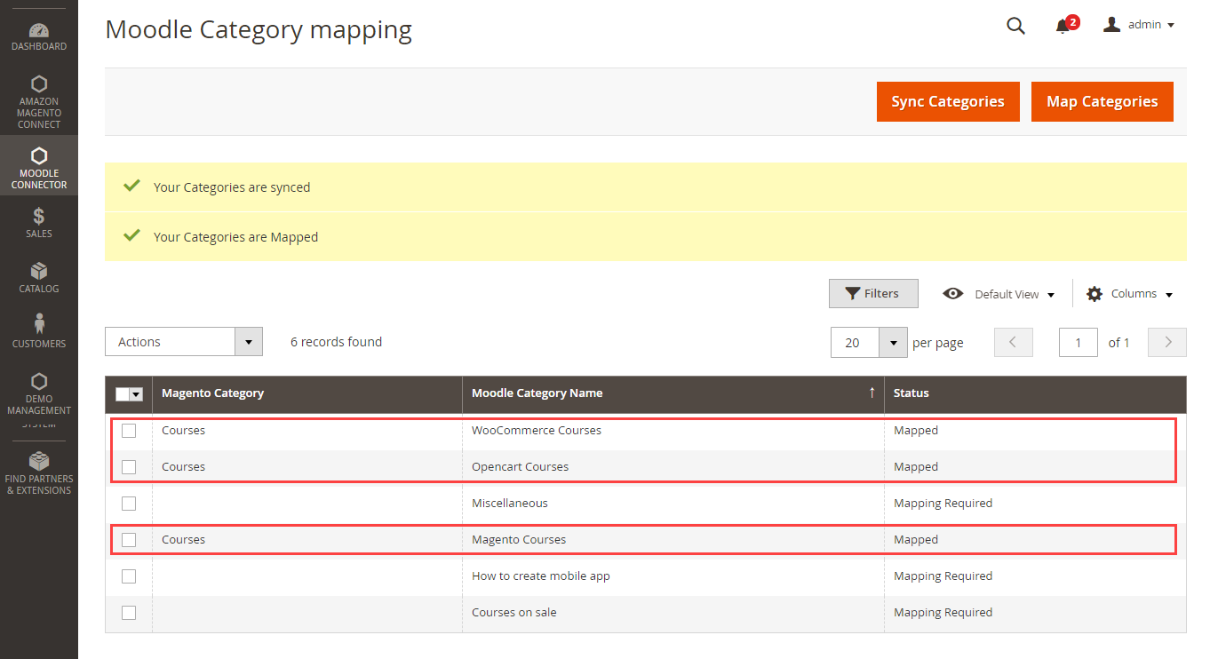 Moodle category mapping