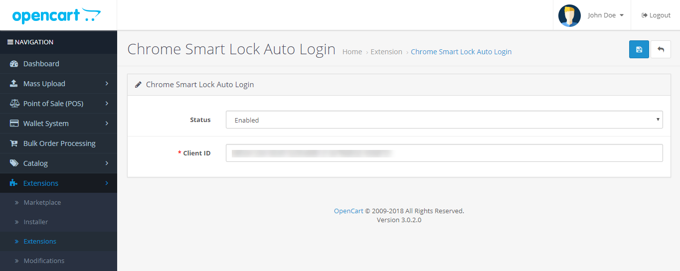 OpenCart - Opencart Google Chrome Smart Auto Login