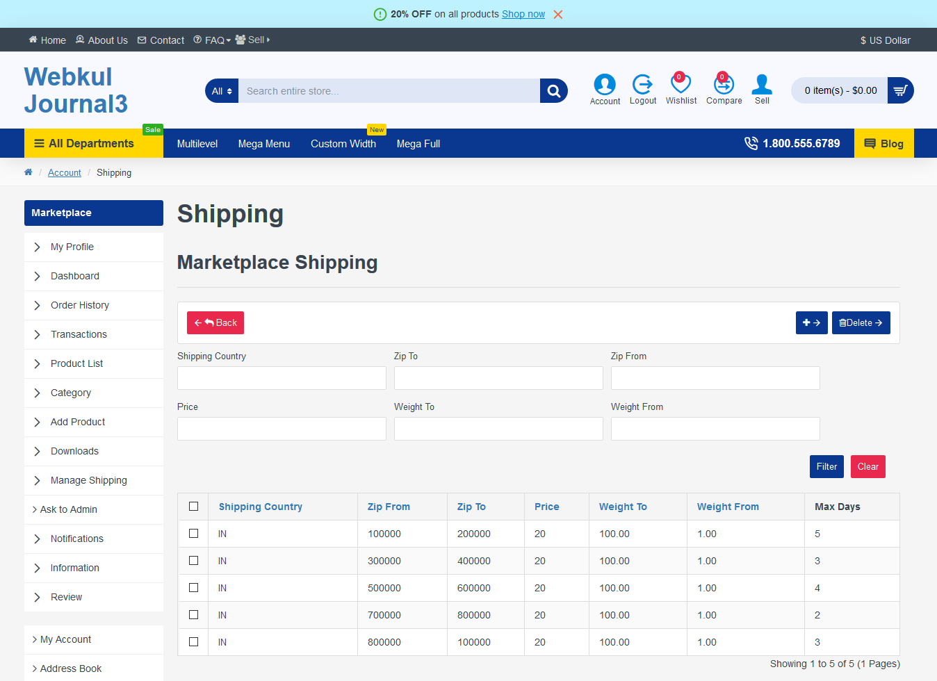 Manage Shipping by Seller