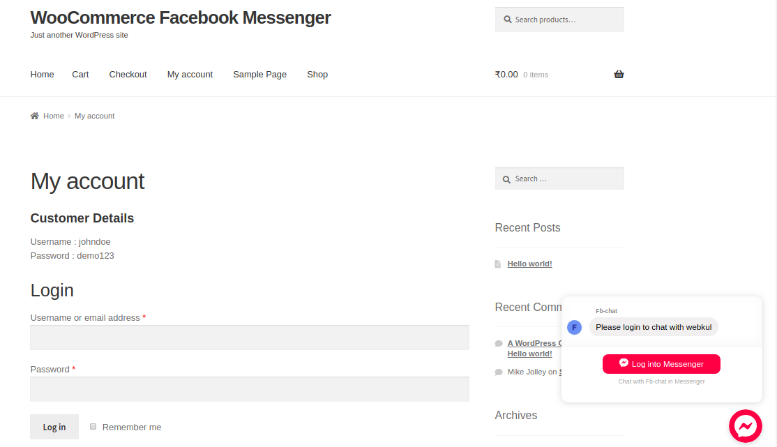 Facebook Messenger Chat for WooCommerce | Messenger Chat Support