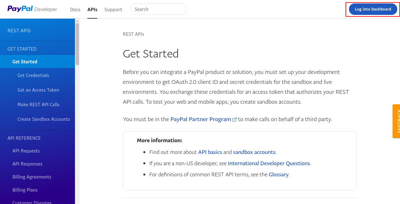 Get Started PayPal Developer