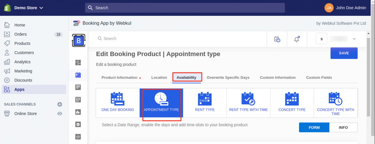 Booking App for Shopify | Appointment Type | Booking Commerce